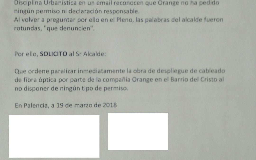 Ganemos Palencia solicita la paralización inmediata del despliegue de fibra óptica en el barrio del Cristo