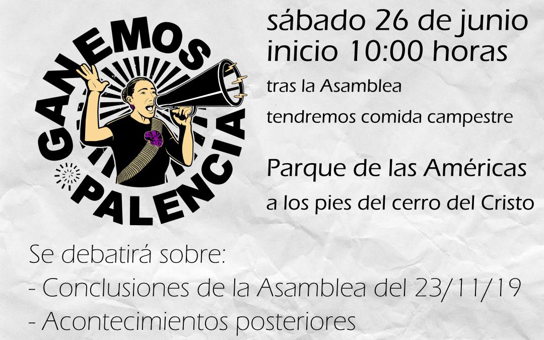 Ganemos Palencia celebra una asamblea extraordinaria el sábado 26 de junio